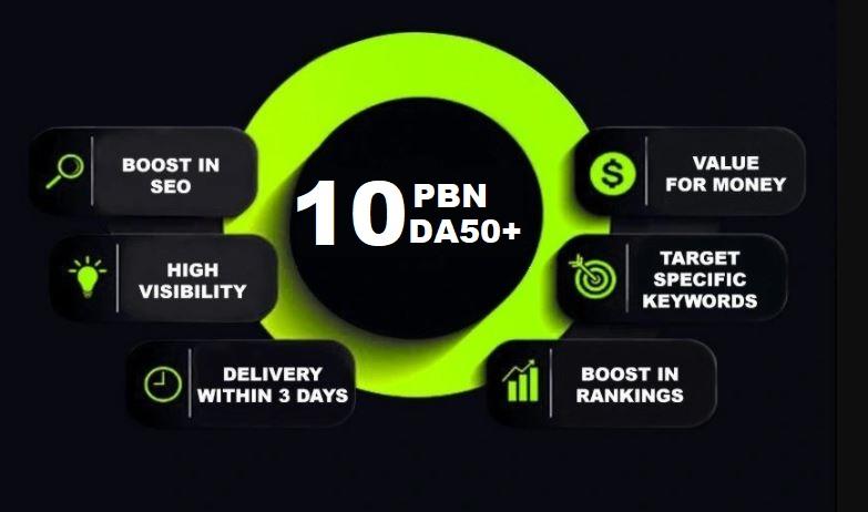 I will create 10 premium da 50 plus pbn backlinks