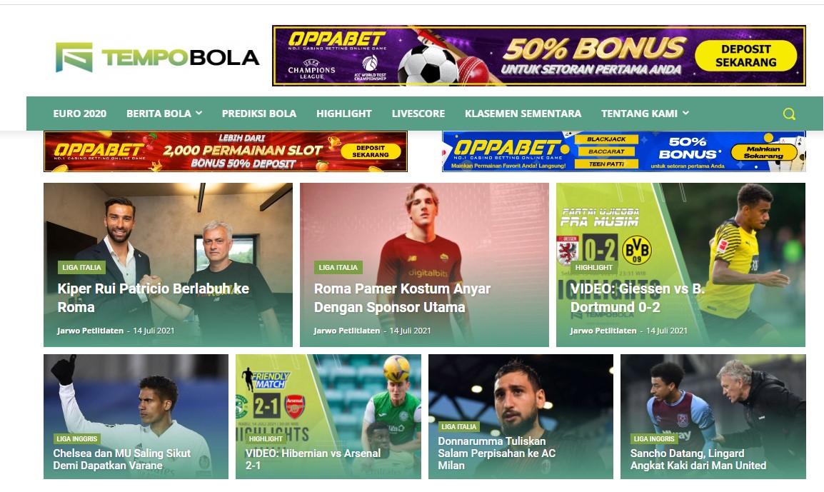 tempobola. id Soccer Website Banner