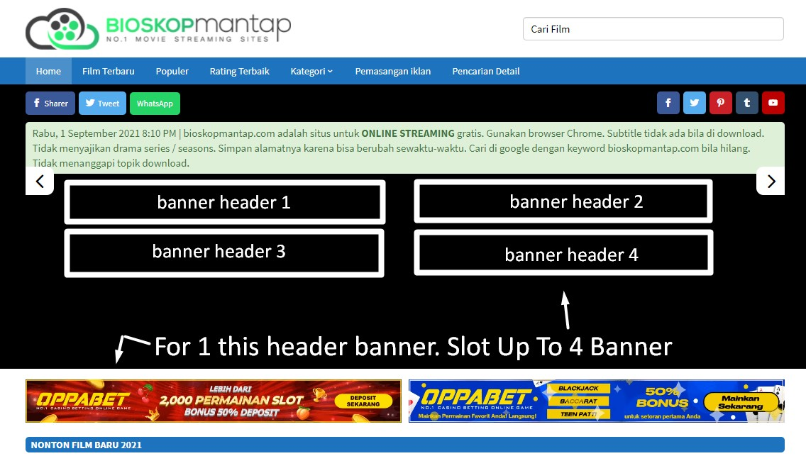 Bioskopmantap. com Slot Banner Header Up To 4