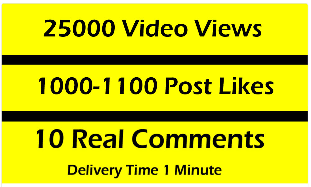 Fast 25000 Video Views Promotion Or 1000 Likes or 10 comments