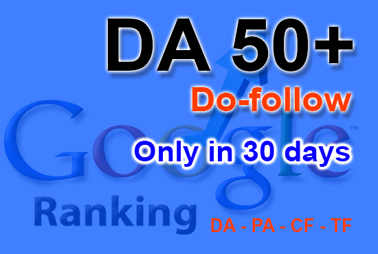DA50+ for Increase Domain Authority
