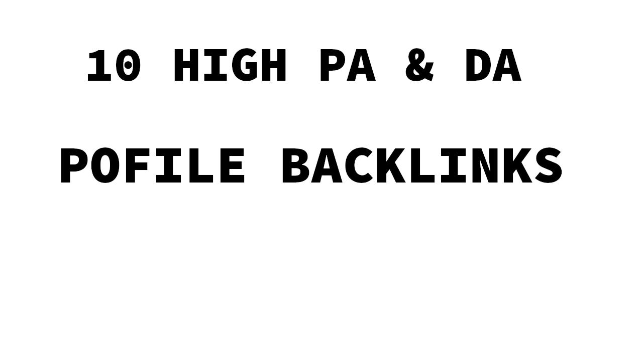 10 High PA DA Profile backlinks