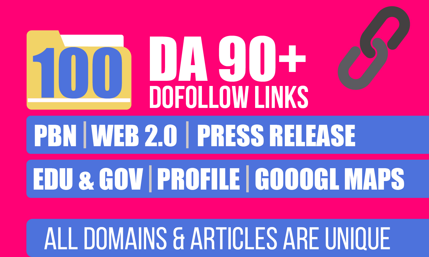 Great Offer For 1 Week,  Google Safe Manually 100+ DA 95+ High Quality SEO Dofollow Backlinks