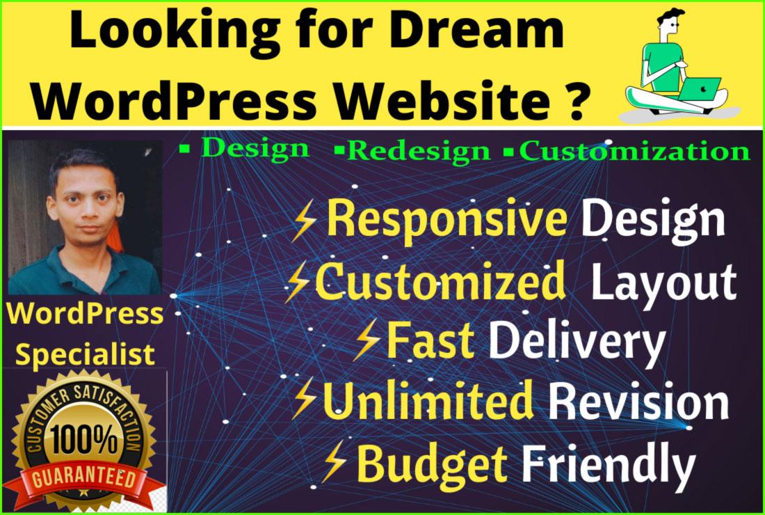 design a mobile responsive wordpress website and create wordpress website design
