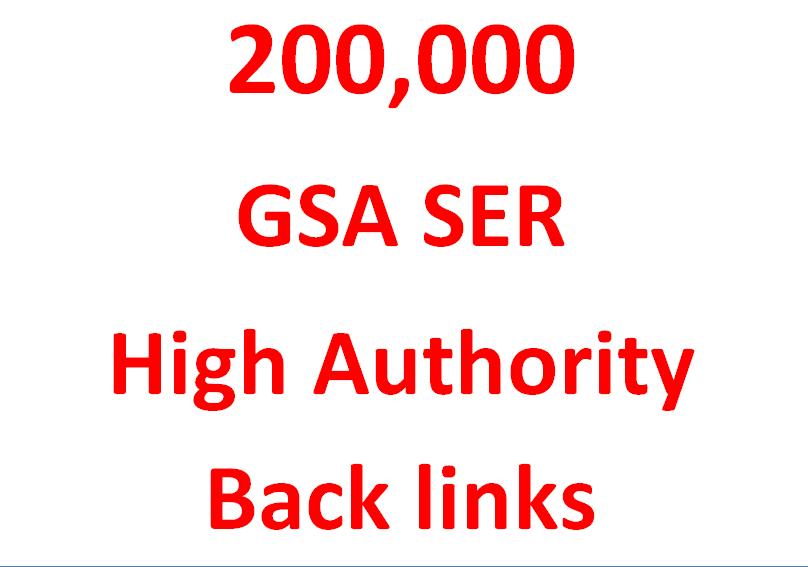 Provide You 200K GSA ser Authority Backlinks