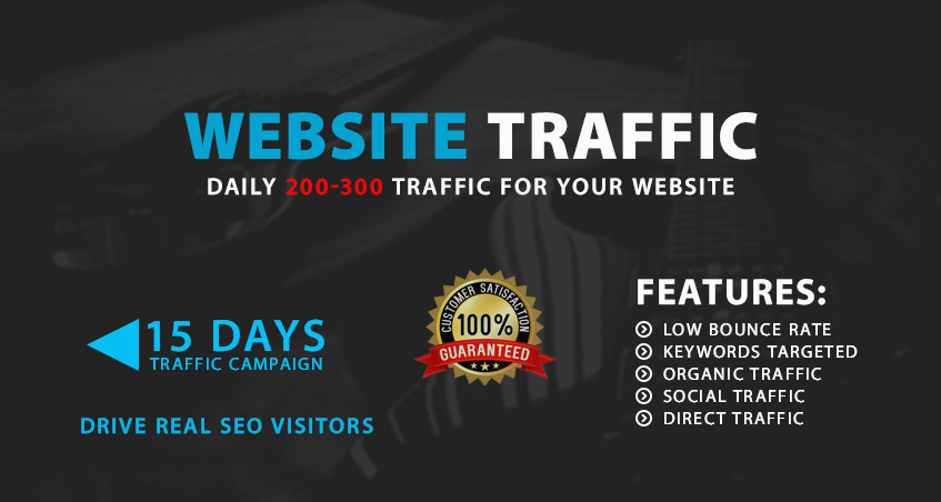 Drive daily 200-300 targeted website traffic with lower bounce for 15 days