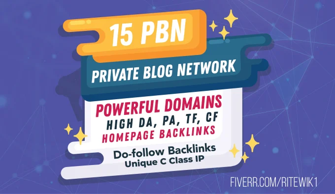 give you 15 permanent homepage pbn links upto tf 25 da30