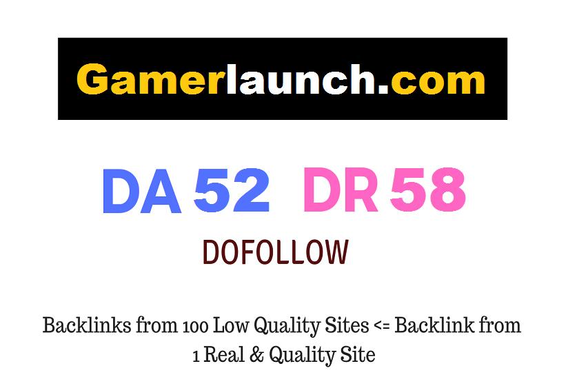 Premium Guest Post on Gaming Website Gamerlaunch. com DA52 DR58