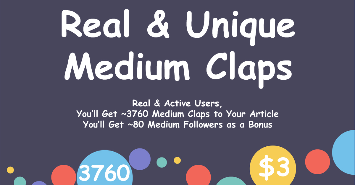 Buy 3760 Medium Claps with 80 Followers