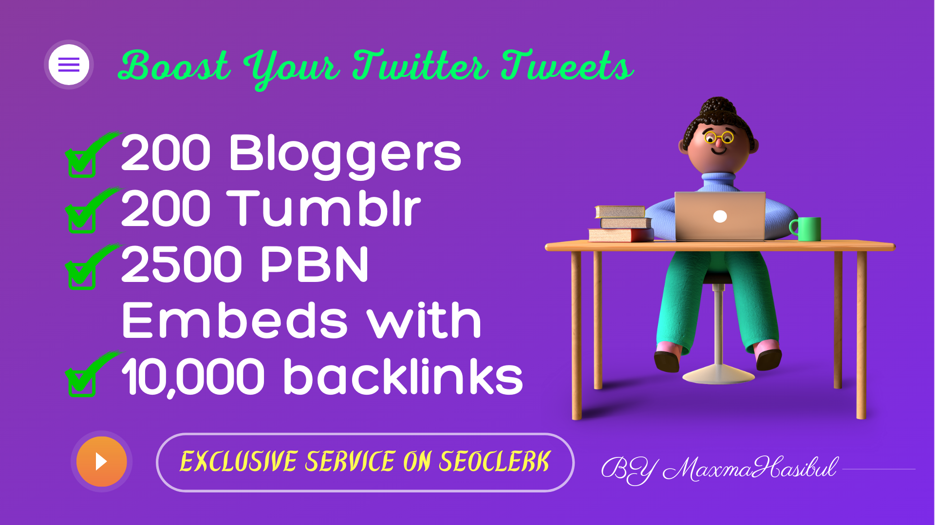 Twitter Tweet Embeds on 200 Blogger,  200 Tumblr,  2500 PBN Blog Embeds with 10,000 Backlinks