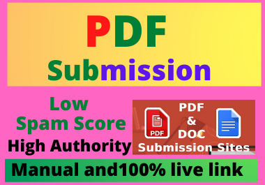 80 PDF Submission High Authority Low Spam Score Website Permanent Dofollow Backlinks
