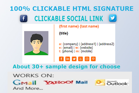 I will create professional clickable html signature