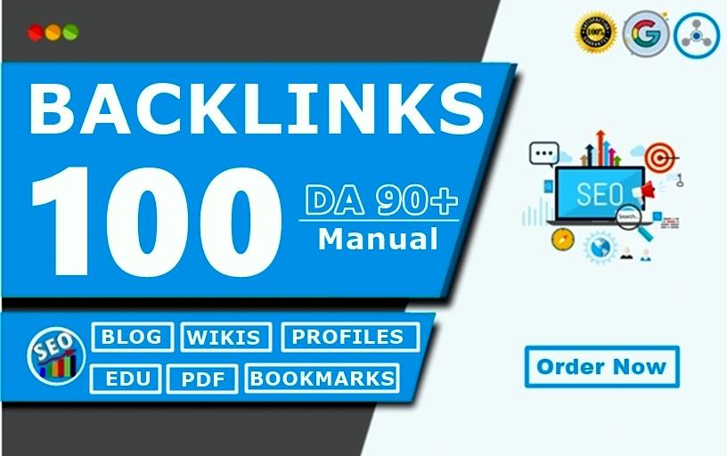 Unique 100 HIGH 90+DA Backlinks PR9, Web2,  Article Submission, Wiki Boost Top Ranking