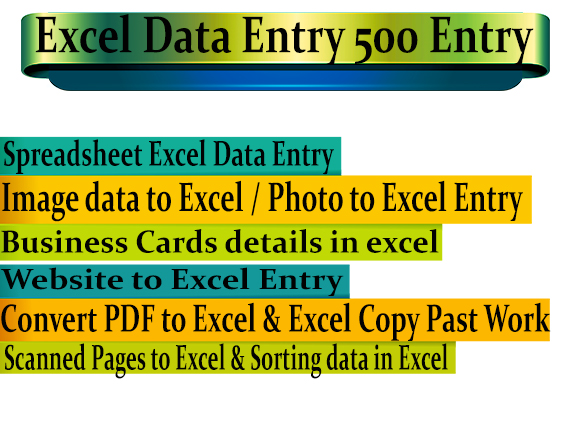 Do Excel Data Entry - Total 500 Entries