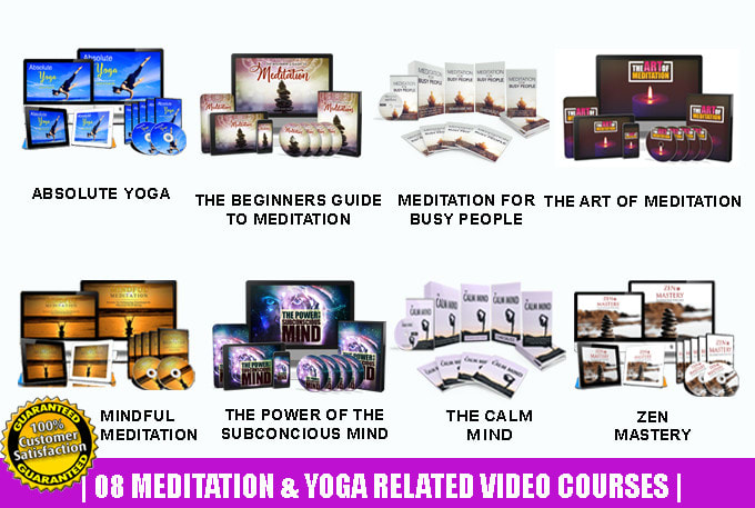 I give 25 meditation yoga personal development video courses with resell rights