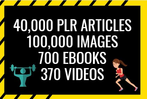 Provide 40,000 PLR Articles 700 EBooks 100K Images 370 Videos On Health Fitness