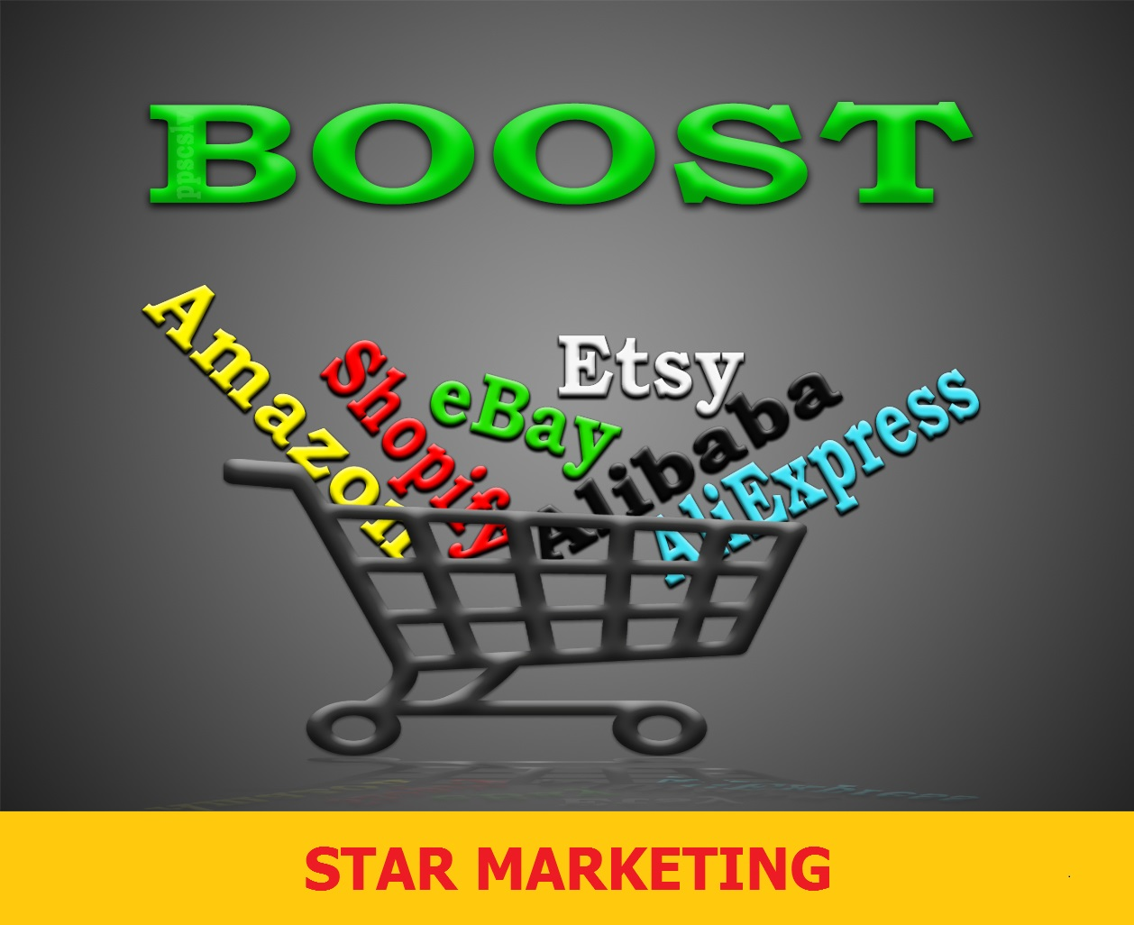 Promote any eBay,  Etsy,  Alibaba,  AliExpress store