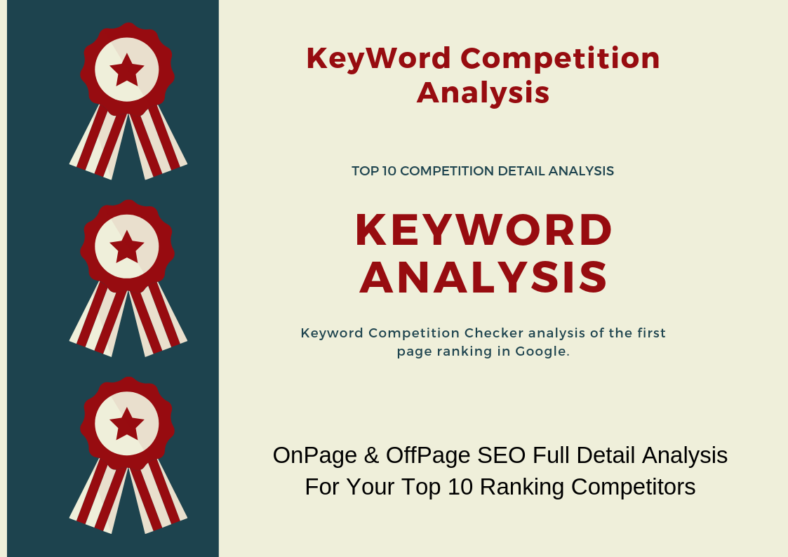 Full Detail Keyword Competition Analysis For Top 10 Ranked Site For Same Keyword
