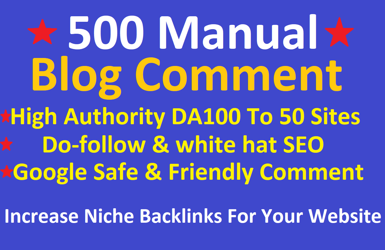 I will provide 500 Blog Comments Backlinks from high quality Blogs in 24hours