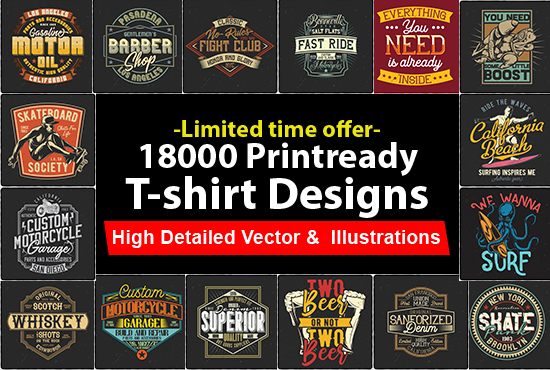 I Will Give You 18000print Ready Tshirt Designs