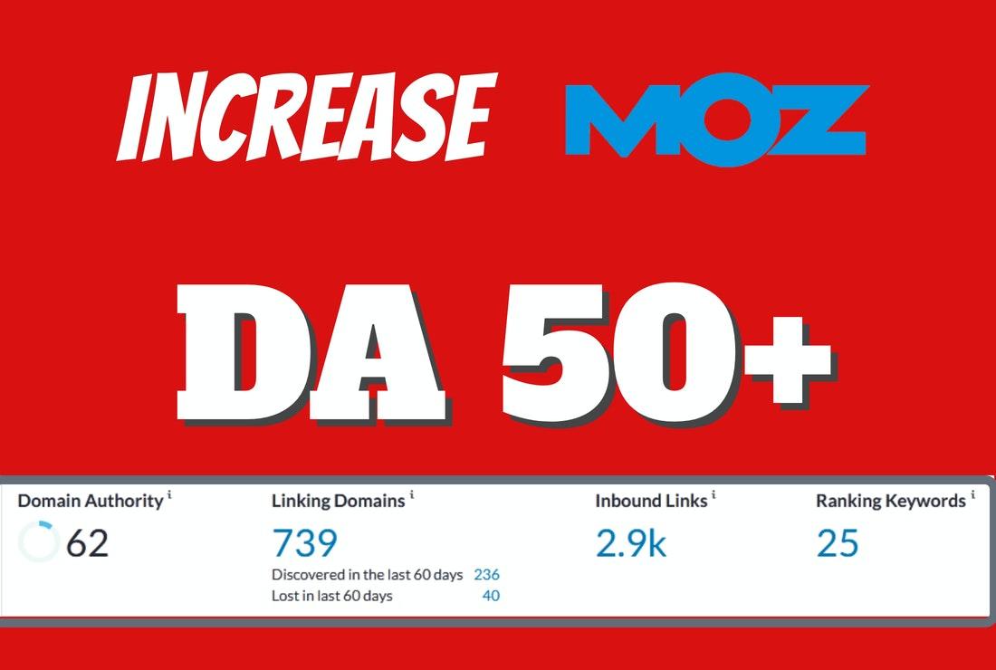 I will increase moz da domain authority 50 with do follow backlinks