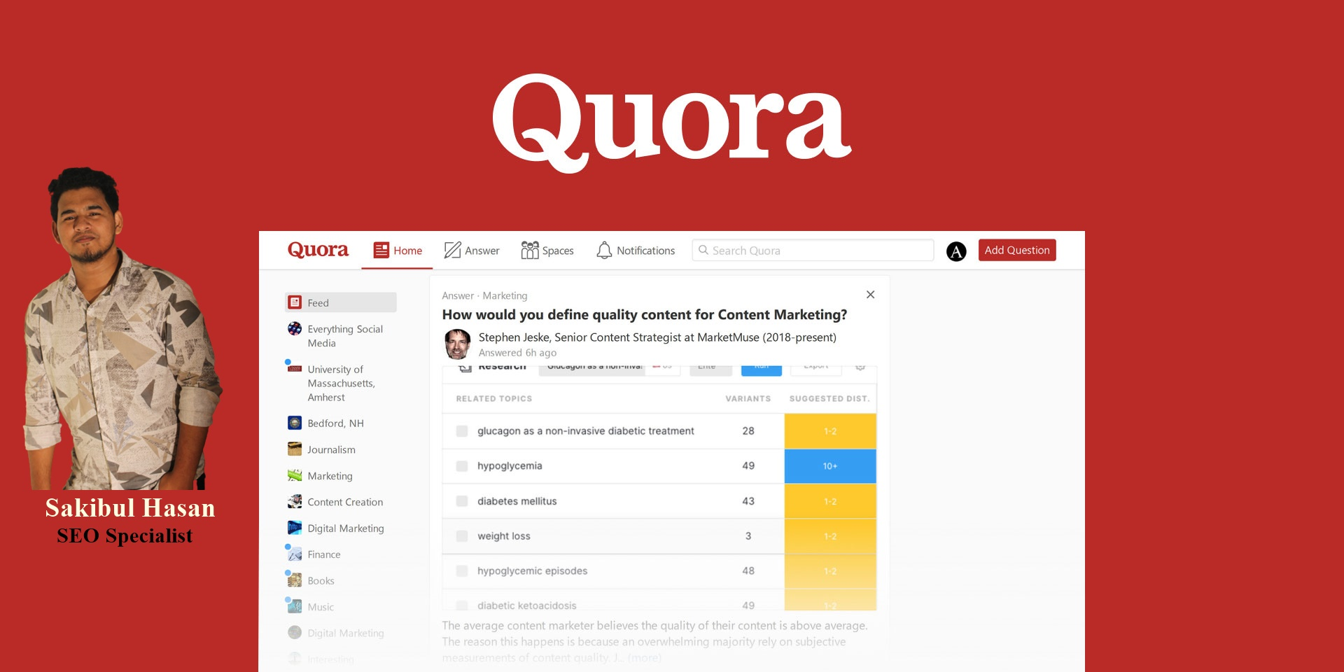I will Create 10 Quora answers on your Niche relevant Questions