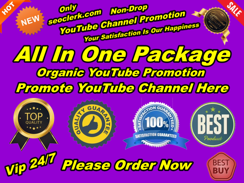 All in one Natural Organic YouTube Promotion Marketing Deal