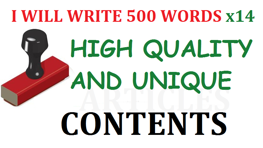 14 x 500 Words Unique Articles/Contents for your Site or Blog
