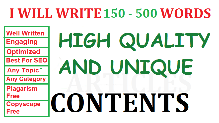 I write 150 - 500 WORDS contents/articles for your business website, blog post, SEO writer/writing
