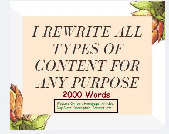 I will manually rewrite website contents blog posts,  articles. SEO Pro Rewriter