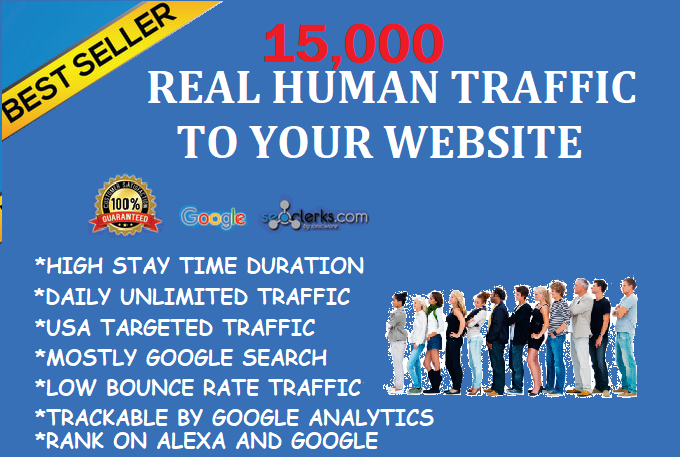 15,000+ Real Humans Visitors/Traffics to your website. Google Adsense/Analytics safe