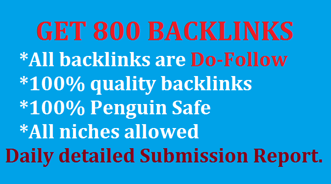 Provide 800 High Quality DoFollow backlinks