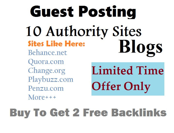 Bumper Offer on 2021 Buy to Get 2 free - Write and Publish 10 High Guest Posts (Limited Time)