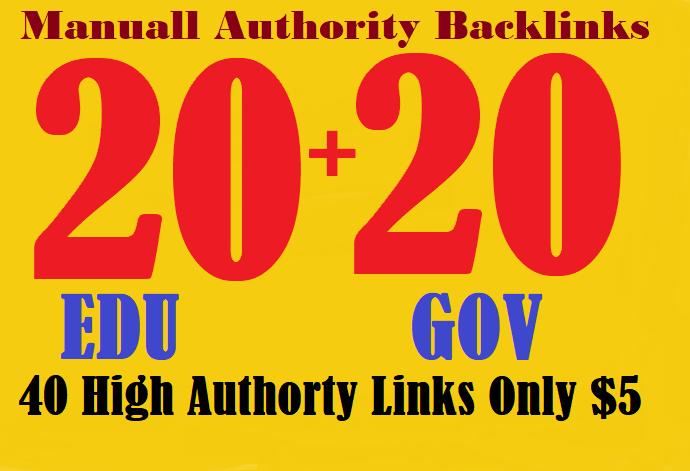 provide you manually 40+. 20 EDU+ 20 GOV High Authority Backlinks