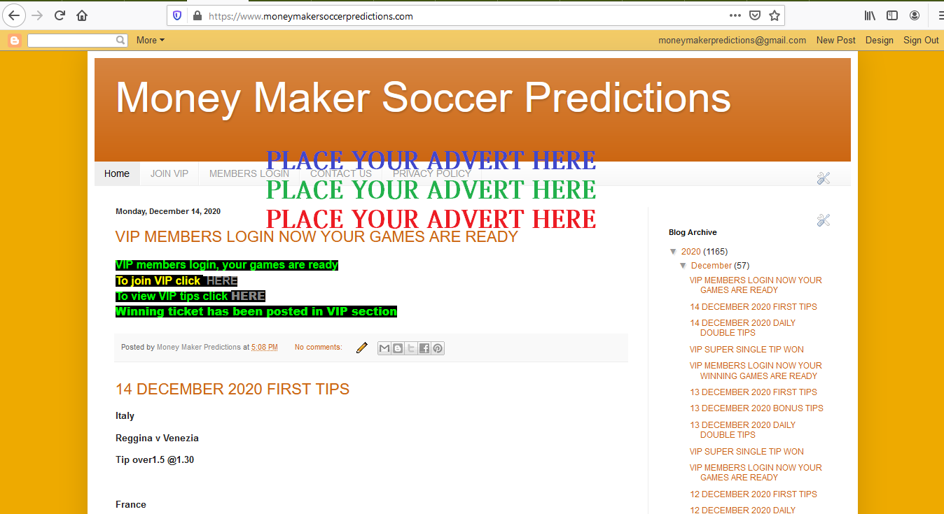 Banner advert on my soccer predictions blogsite for a month