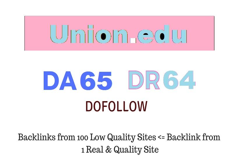 Guest Post on Union College - Union. edu - DA65 DR64 for 10