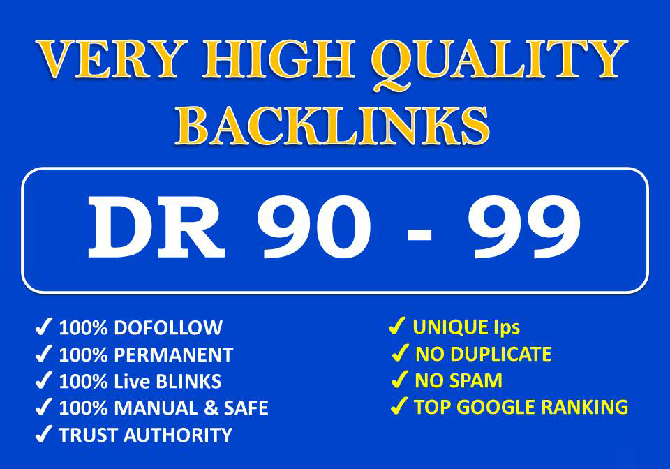 build DR 90 to 99 high quality dofollow backlinks for your website or youtube video