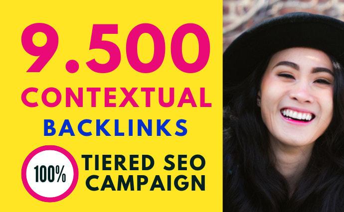 Build 9500 contextual backlinks for SEO tier link building