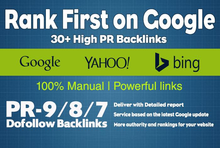 Homepage 30 high PR dofollow backlinks