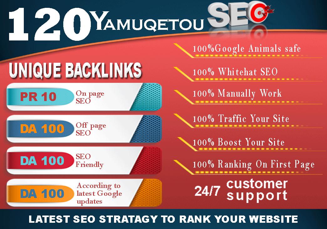 """"""" I Will """" Build 120 Unique Domain SEO Backlinks On Tf100 Da100 Sites"""