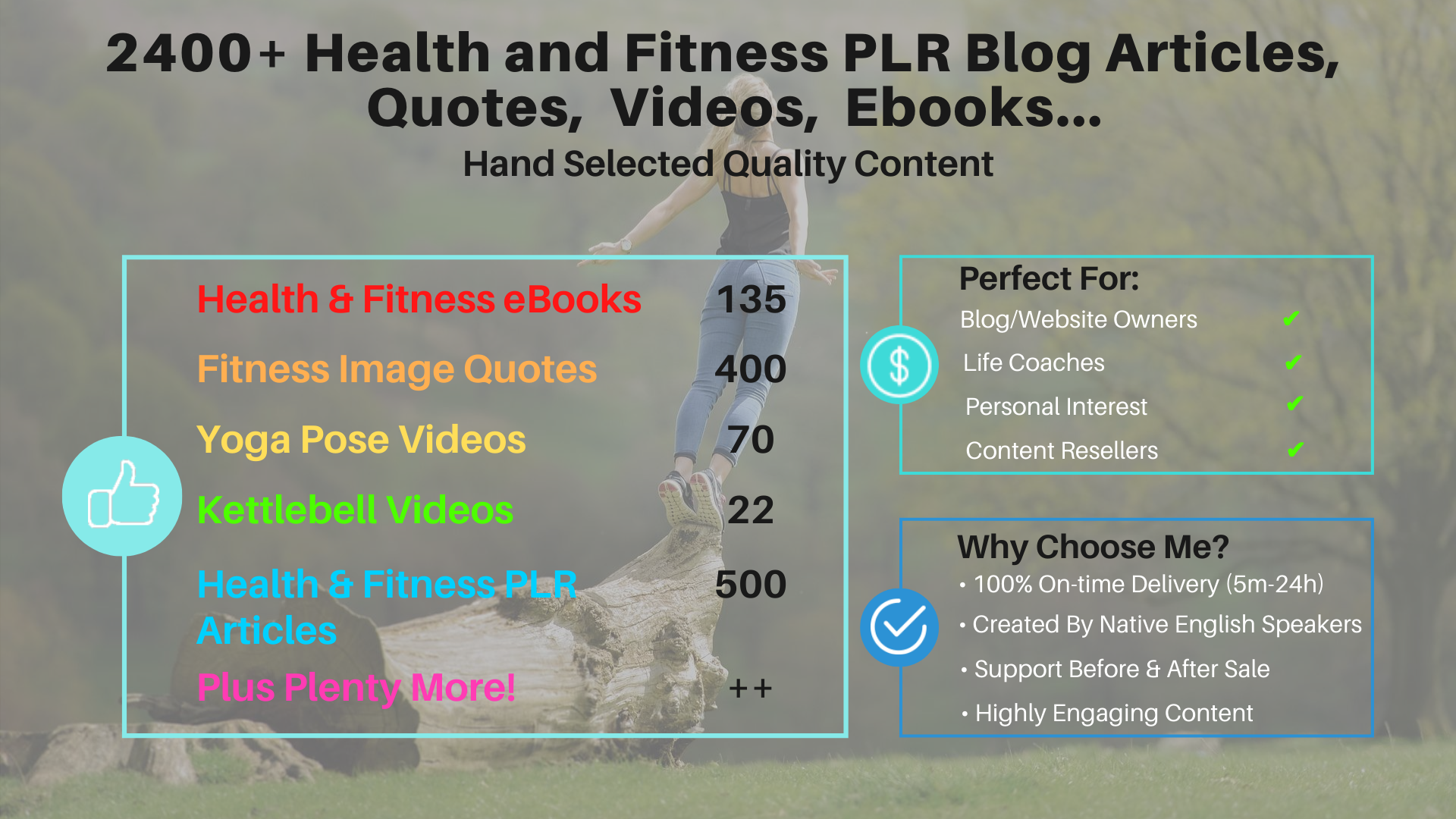 2400 Health and Fitness PLR Ebooks,  Quotes,  Blog Articles,  Videos
