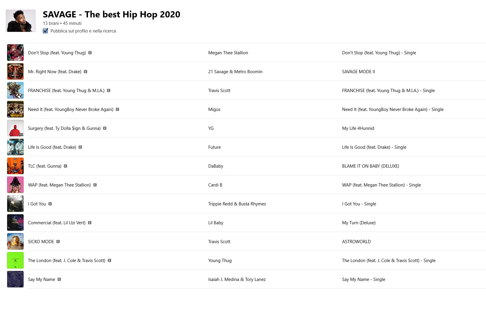 Your track on SAVAGE Hip Hop Playlist on Apple Music