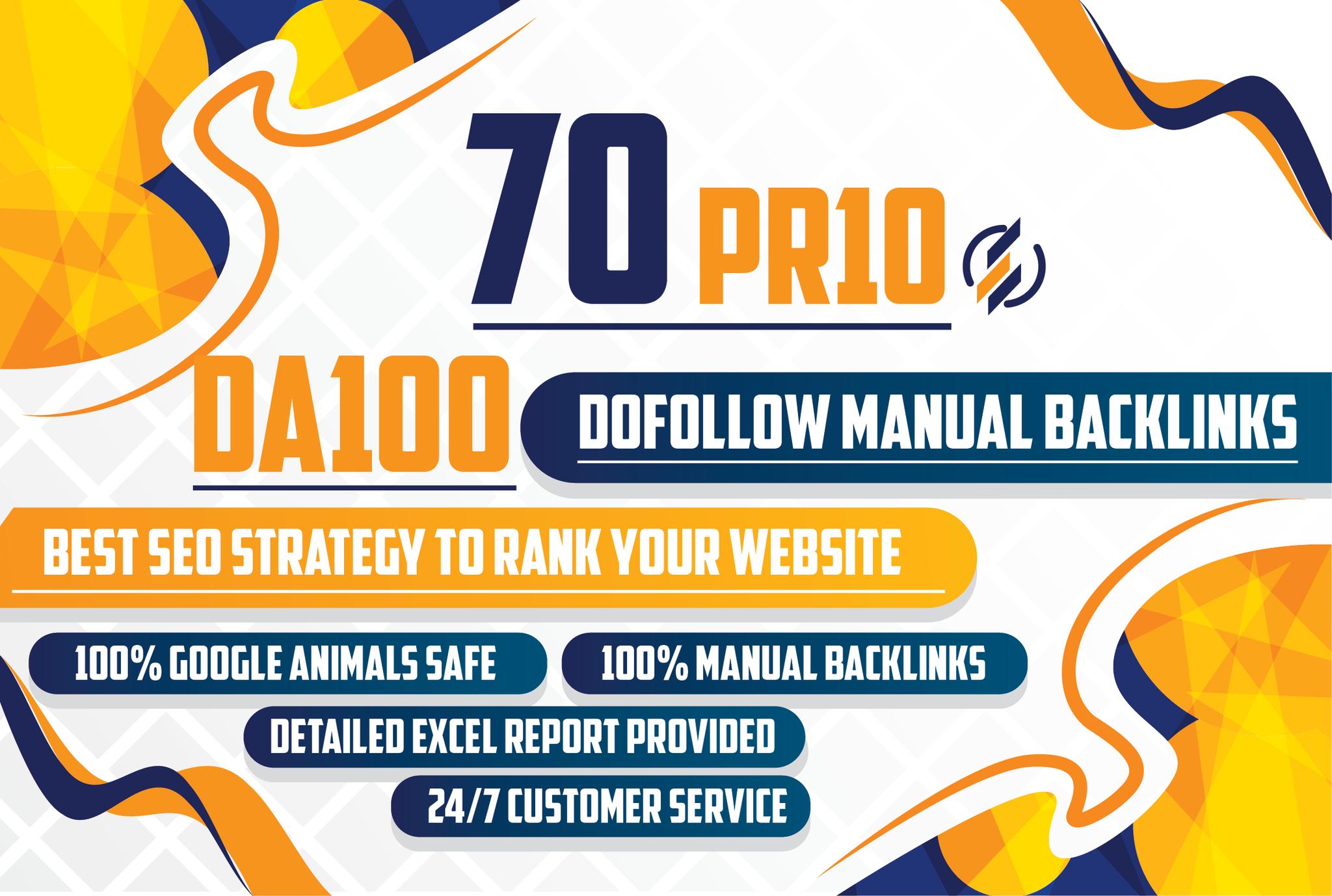 I will Do Manual 70 UNIQUE WHITE HAT SEO Backlinks PR10 websites