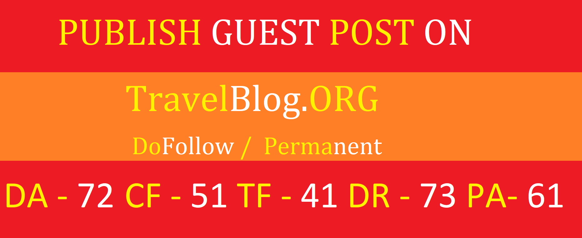 Provide you guest post on TravelBlog. org DA 75