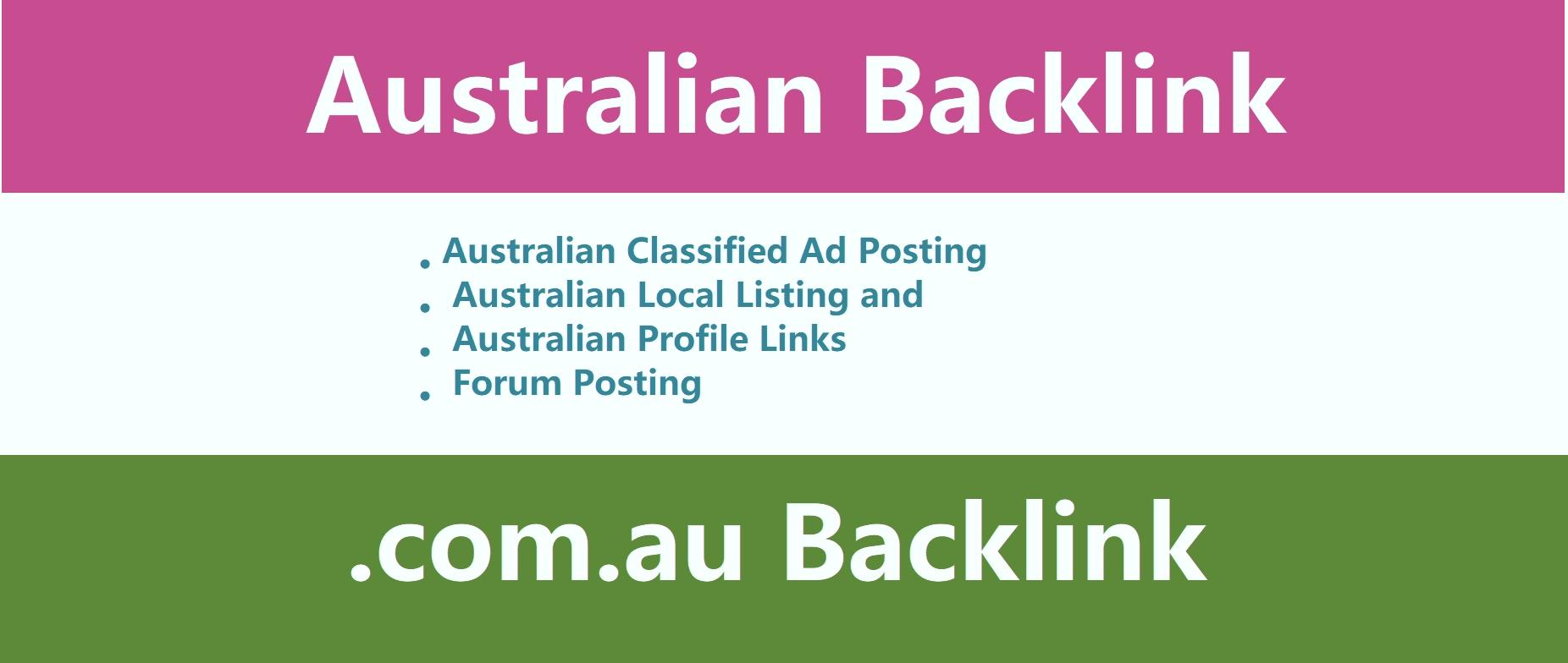 Provide 30 high DA australian com au domain links, . com. au backlinks