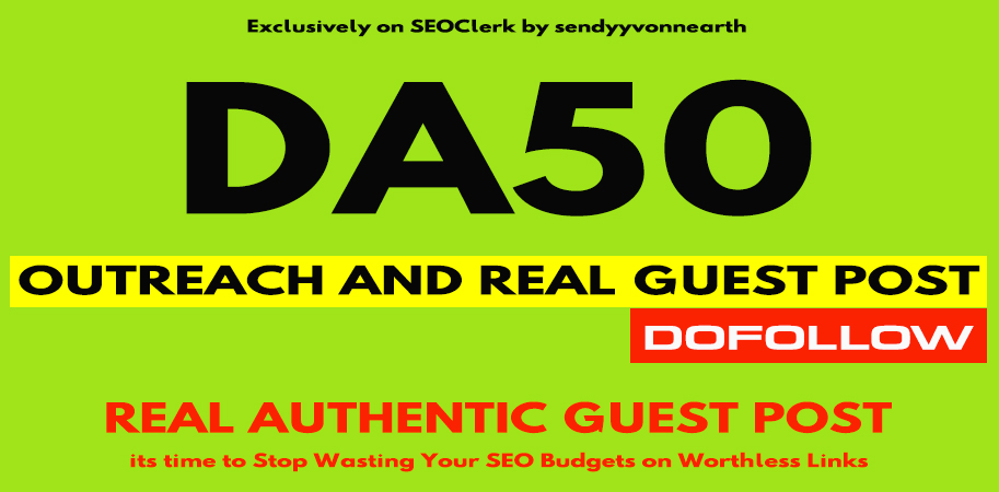 write and post guest post on DA50 blog site