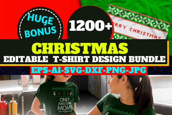 1200 Christmas Editable New T-shirt Design Bundle