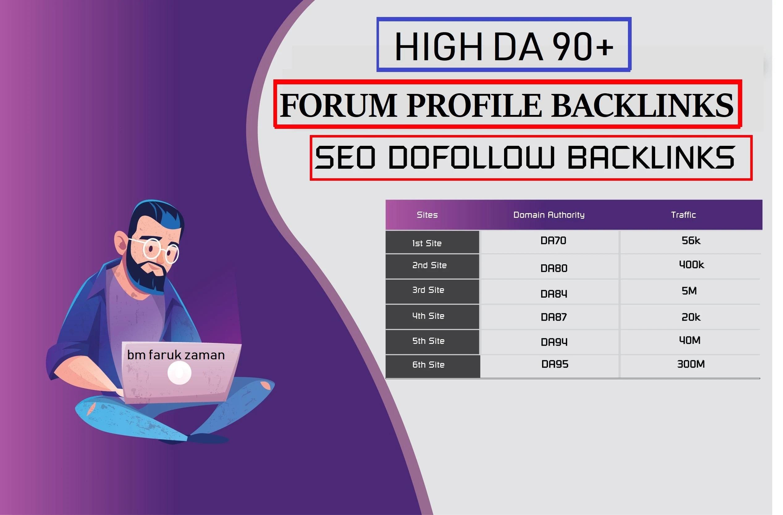 DA 70 to 100 Dofollow Forum with Profile Forum Backlinks.