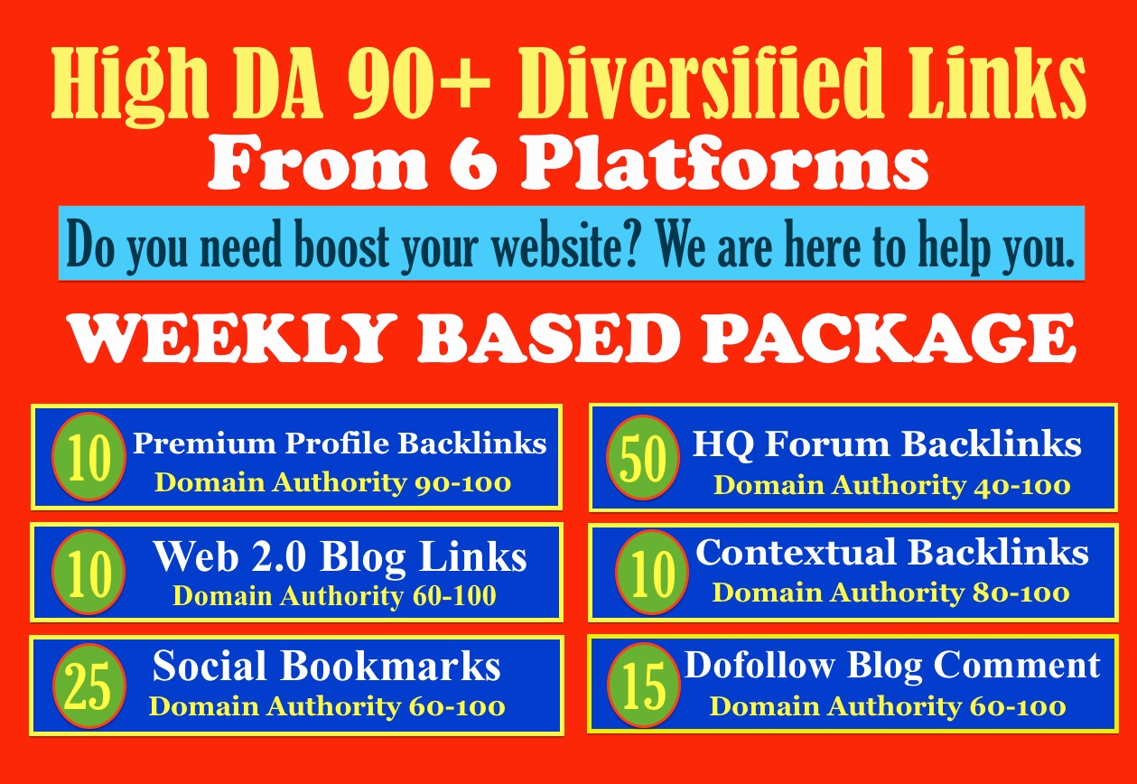 Monthly seo service with 120 high quality seo dofollow backlinks for website ranking
