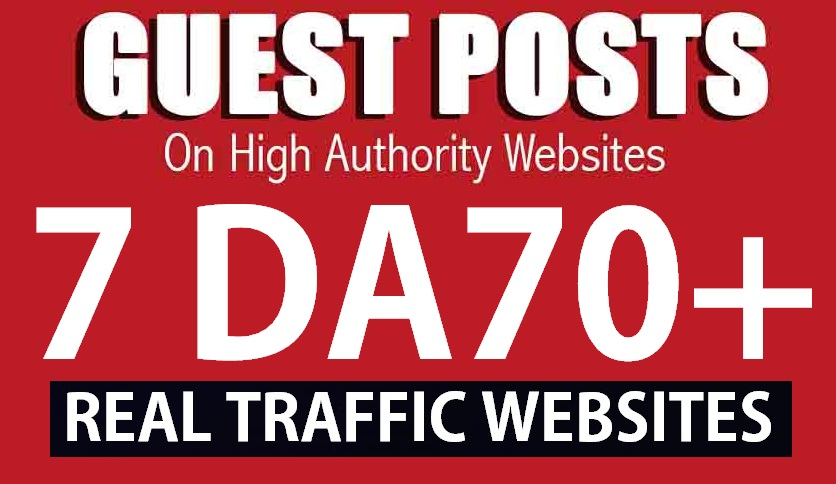 Publish 7 Guest post service on DA70 Real Blog site